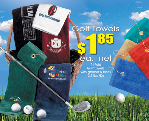 Velour Cotton Golf Towels custom embroidered 3 ply tri folded